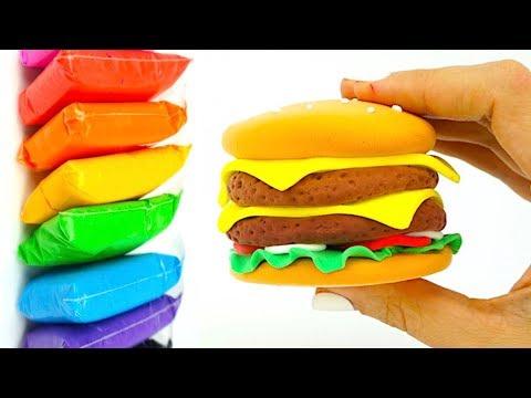 Лепим из пластилина Бургер, развивающее видео для детей