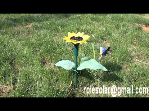 Sun flower solar fluttering flying humming bird garden stake