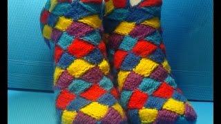 Вязание спицами домашние тапочки в стиле энтерлак #96