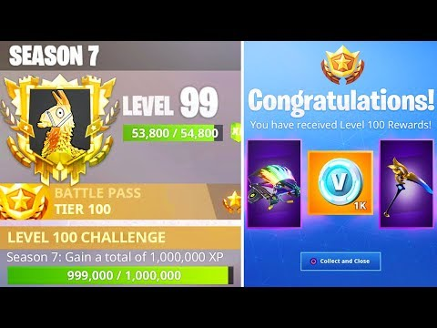 WORLD'S FIRST LEVEL 100 RIGHT NOW in SEASON 7! - SECRET NEW LVL 100 REWARDS (Fortnite LIVE Gameplay) thumbnail