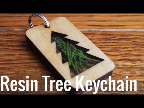Making a Tree Resin Keychain with Laser Cut wood | JMKDIY