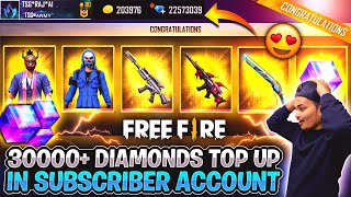 Free Fire I Bought 30000 Diamonds For My Lucky Subscriber - All Rare Bundles And Character Unlocked