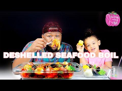 DESHELLED King Crab, Lobster Tail, Jumbo Shrimp Soaked In DIPPIN DASH BUTTER Sauce |MUKBANG