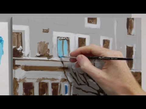 Acrylic painting tutorial - French cafe scene - Part 3