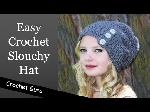 Easy Crochet Slouchy Hat - Button Down Slouch Hat - YouTube fe65d82fd73