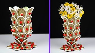 Plastic bottle and jute rope flower vase unique idea | Wonderful ways to decorate your home