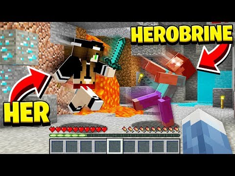 SHE **FOUGHT** HEROBRINE in Minecraft!