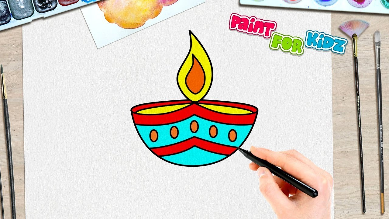 How To Draw A Diwali Diya Paint For Kidz Easy Drawings For Kids Drawing For Kids Easy Drawings