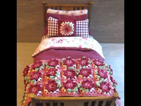 1/12th Scale Single Bed Tutorial - Part Three - Crocheted Throw & Cushion