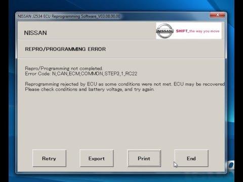 Nissan ECM Reprogram J-2534/NERS (WITH AN ERROR!)