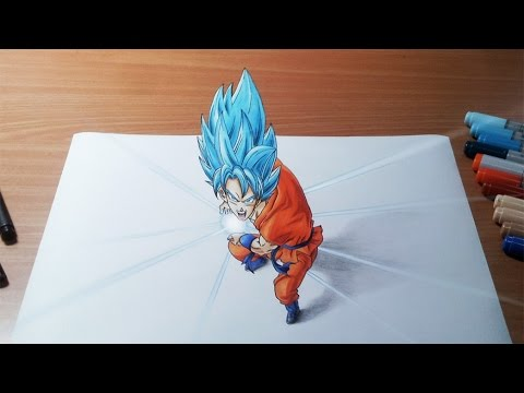 Drawing Goku Super Saiyan Blue Kamehameha in 3D - YouTube