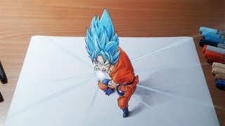 Drawing Goku Super Saiyan Blue Kamehameha in 3D