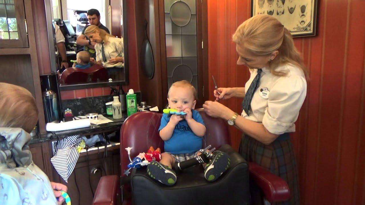 Owens First Haircut At The Harmony Barber Shop At Walt Disney World