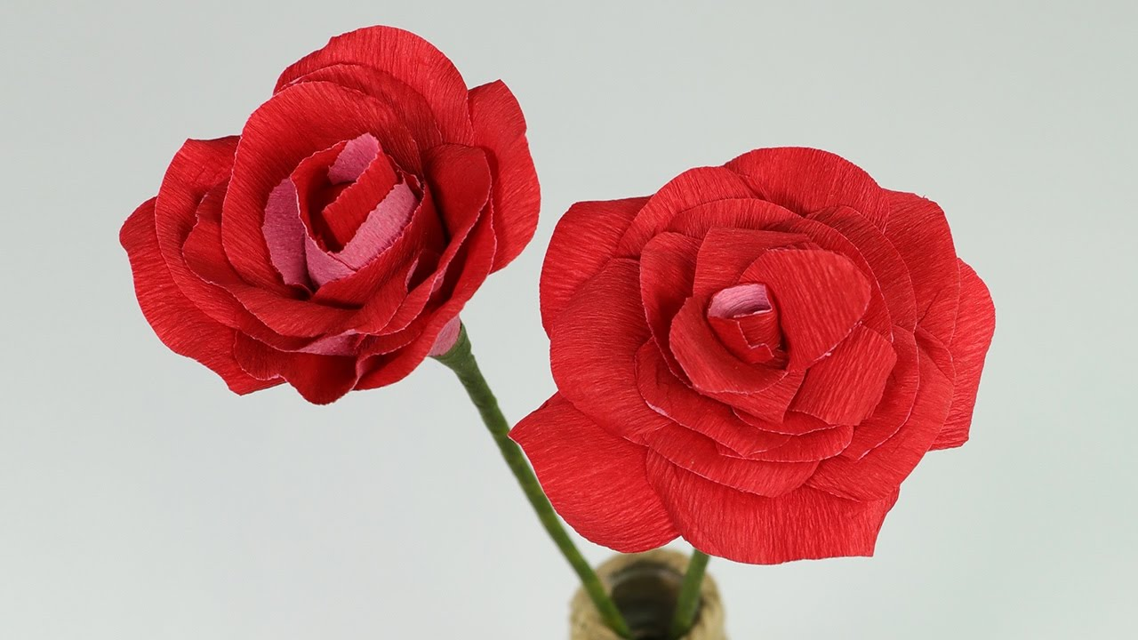 Diy paper rose step by step flower making tutorial youtube mightylinksfo