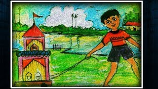 Pastel painting for kids || Oil Pastel || How to Draw Village Child pulling Rath