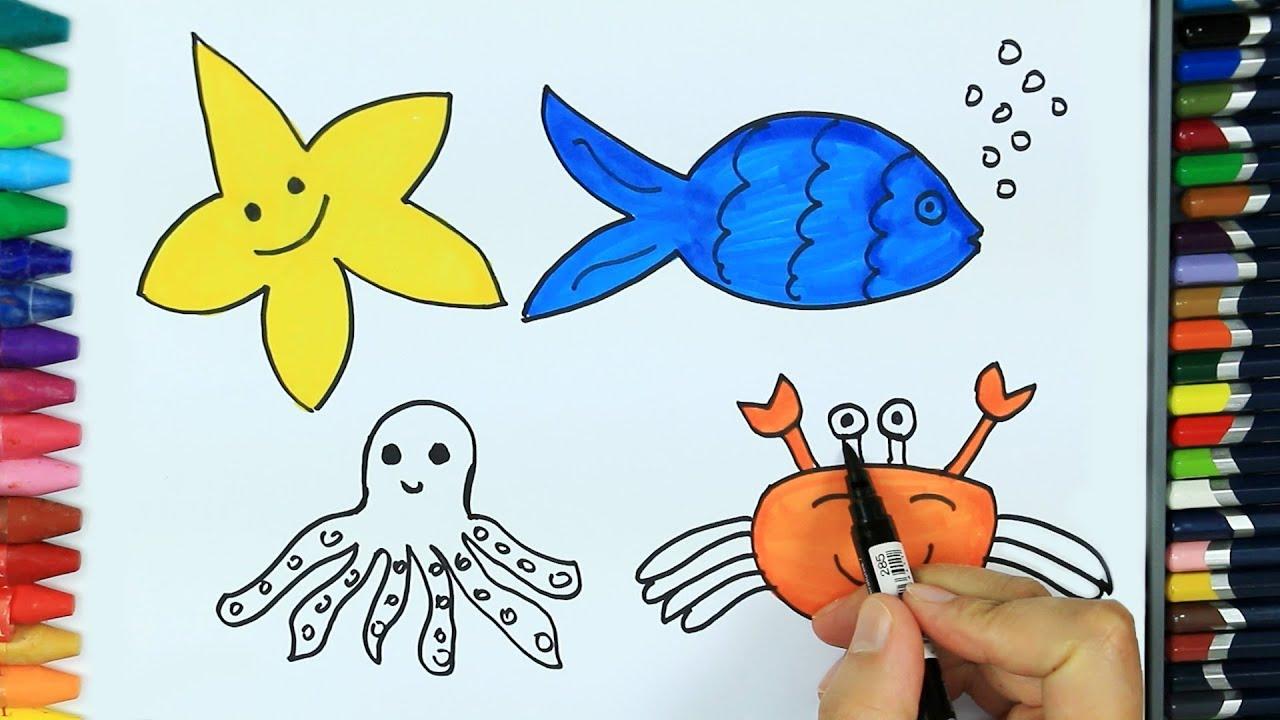 Dibujos Para Pintar Y Colorear Cómo Dibujar Animales Marinos Colores Para Niños Cómo Colorear