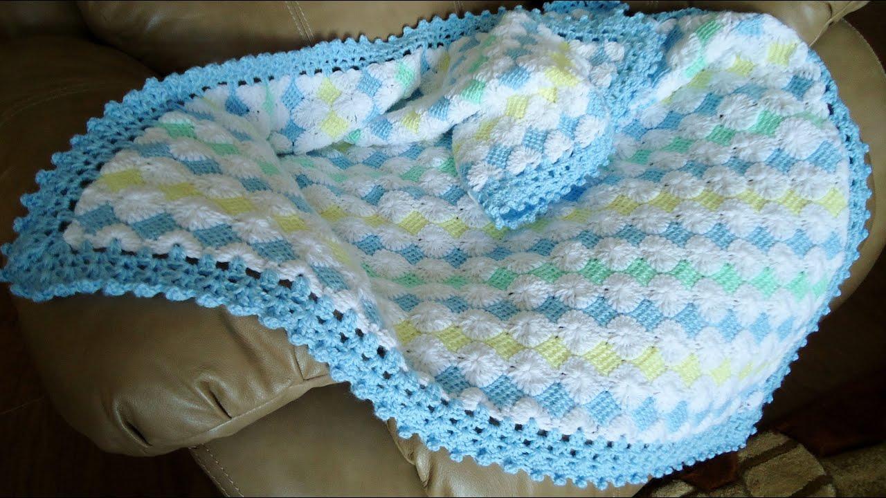 Mantita de Bebé en Punto Tunecino y Crochet (Parte 1) - YouTube
