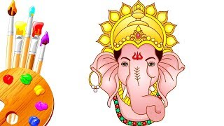 How to Draw Ganpati and  Maa Durga Step by Step Drawing & Coloring  For Children
