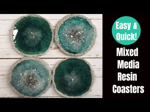 EASY Mixed Media Resin Agate Coasters // Teal and Iridescent