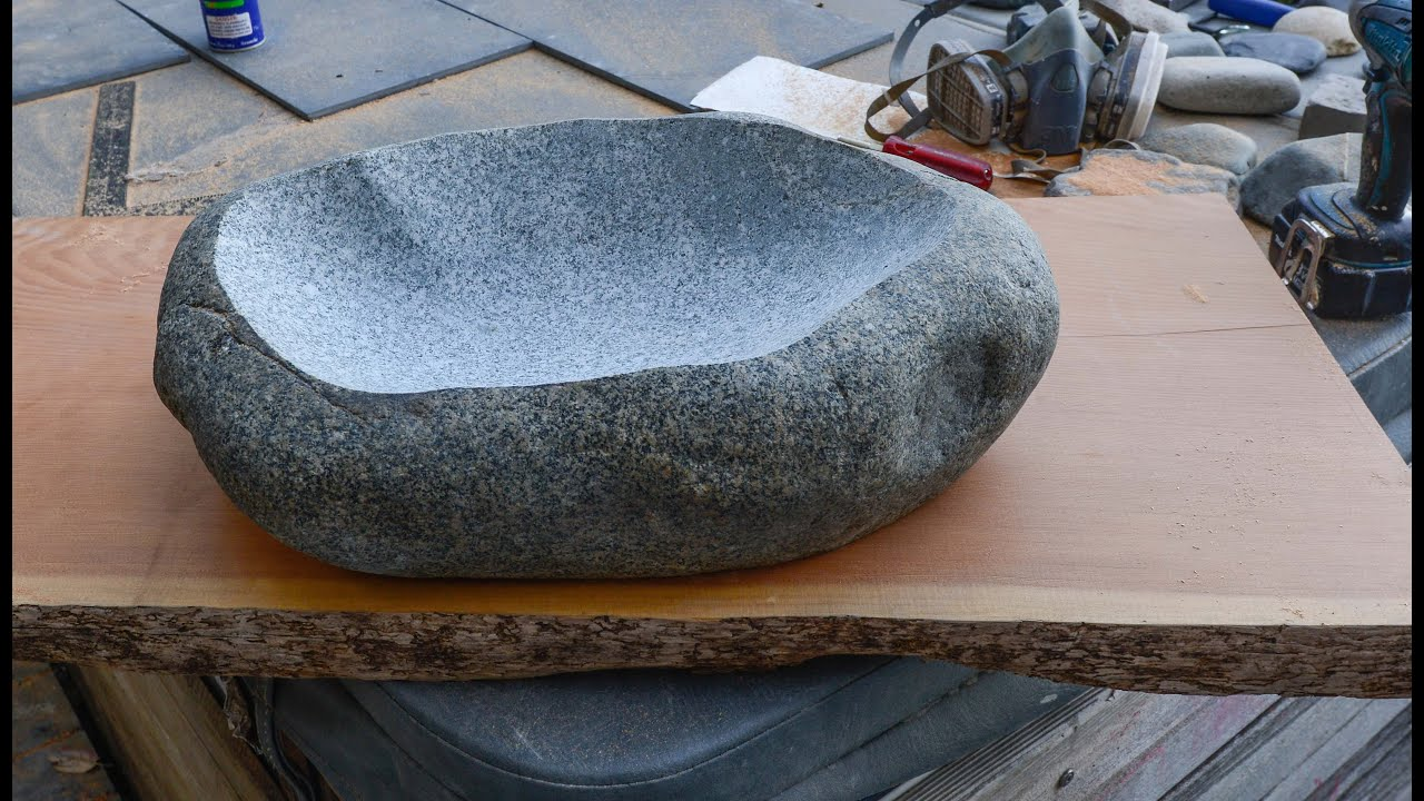 Stone Bowl Basin : How to Carve a Stone Sink in 4 Hours! - YouTube