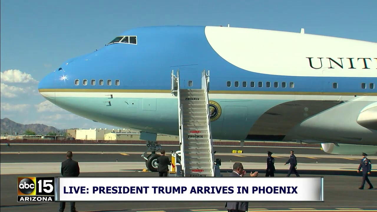 Download LANDED SAFELY! President Trump arrives in Air Force One for Phoenix rally