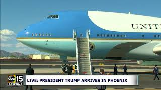 LANDED SAFELY! President Trump arrives in Air Force One for Phoenix rally