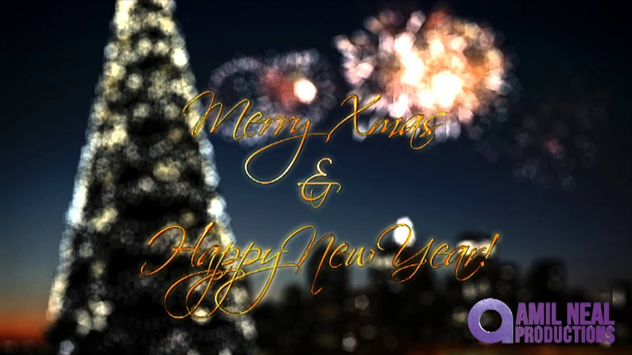 Champagne Fireworks Merry Christmas Happy New Year Greetings
