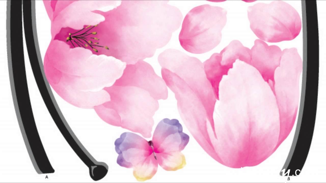 Pink flower wall stickers on windows walls wallstickery youtube mightylinksfo