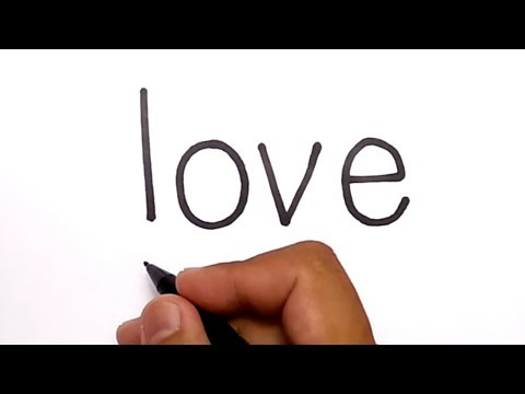 VERY EASY ! how to turn words LOVE into CARTOON for kids / learn how to draw