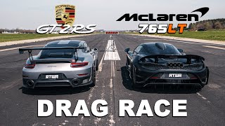 McLaren 765LT vs. Porsche GT2 RS | DRAG RACE | Daniel Abt