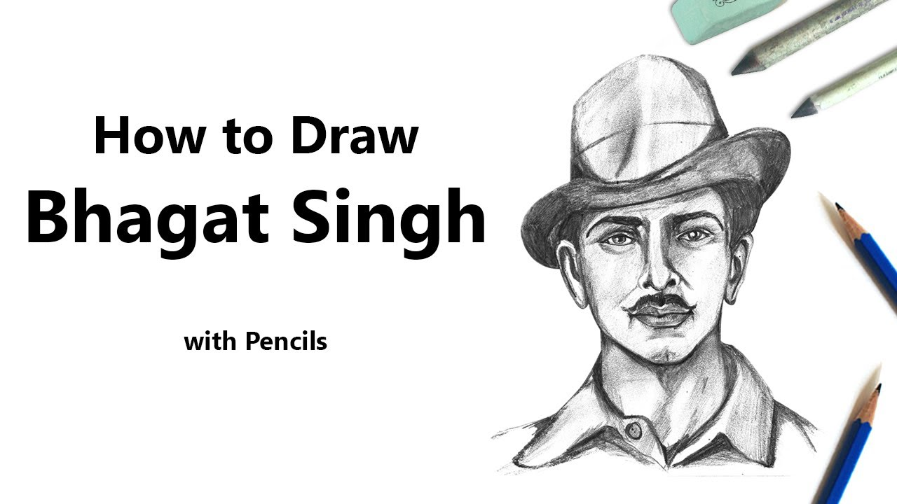 How to draw a bhagat singh with pencils time lapse