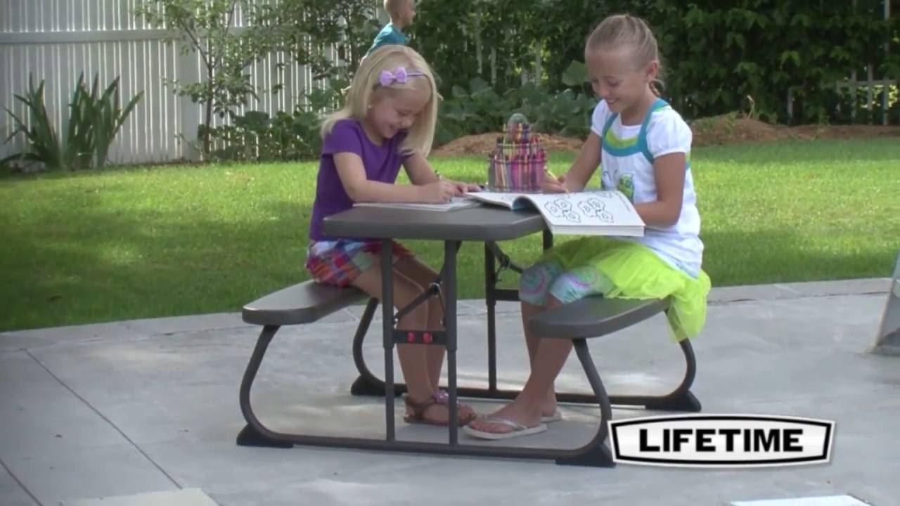Lifetime 60133 kids brown plastic 4 child picnic table youtube lifetime 60133 kids brown plastic 4 child picnic table watchthetrailerfo