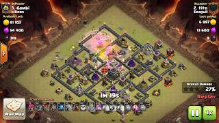 Clash of clans[Attack Strategy] Th9 vs Maxed Th9 Anti 3 star base with #GOBOLALOON #Seagull by #TITO