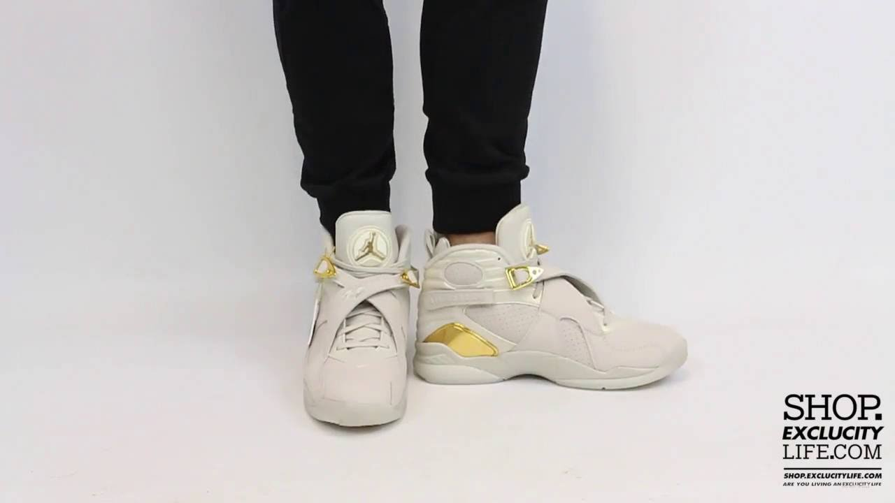 6e4715de037611 ... denmark air jordan 8 retro cigar champagne light bone gold on feet  video at exclucity youtube