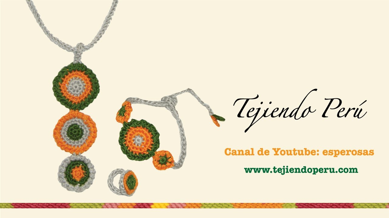 Collar, pulsera y anillo en crochet (con icord) - YouTube
