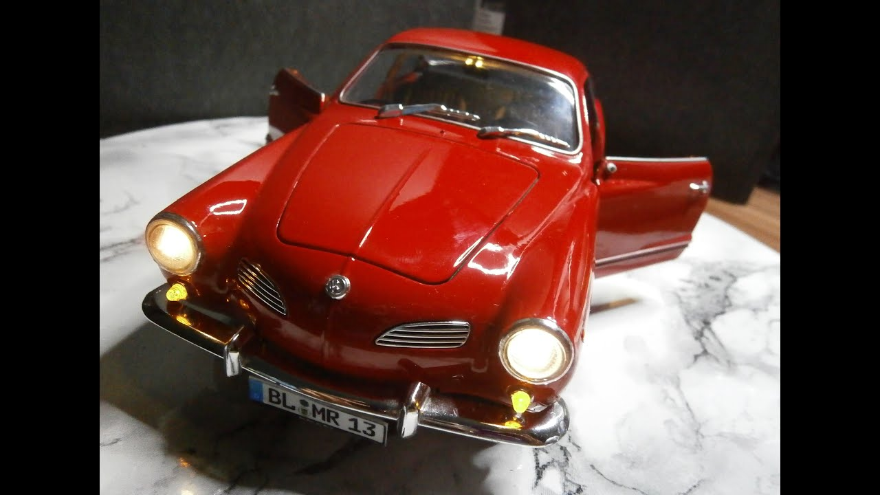 118 Led Tuning Car Modellbau Volkswagen Karmann Ghia Welly Vw 141 1950