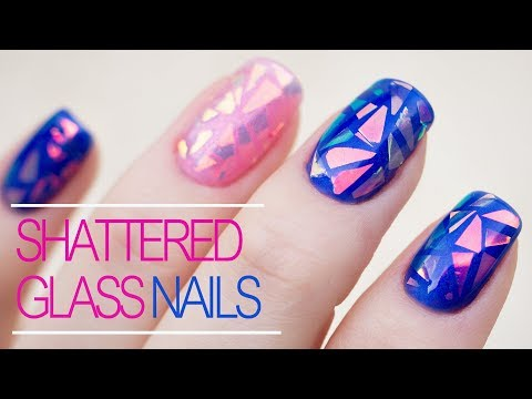 Shattered Glass Nail Art With Iridescent Foil - Tutorial For Beginners