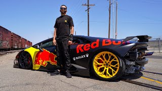 REVEALING THE RED BULL TWIN TURBO LAMBORGHINI SLAMMED ON BAGS! *900 WHP*