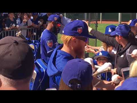 Justin Turner signs autographs Los Angeles Dodgers Spring Training At Camelback Ranch
