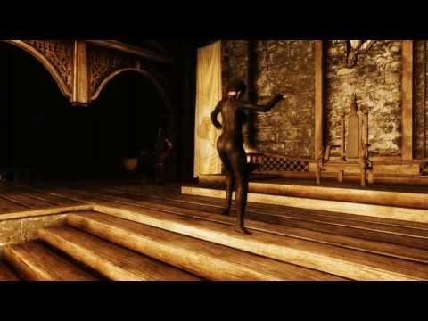 Skyrim: Dark Feral dancing in HD Dark Disciple leather catsuit armour