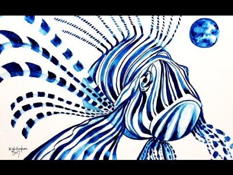 Watercolor Blue Lion Fish