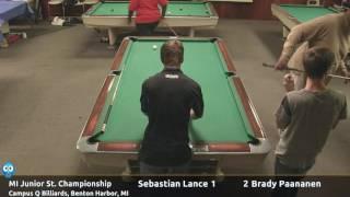 Sebastian Lance vs Brady Paananen (18 and under) - Michigan Junior State 9-Ball Championship thumbnail