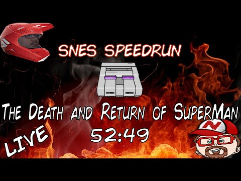 The Death and Return of Superman (SNES) - Full Game 52:49 [WR] Speedrun