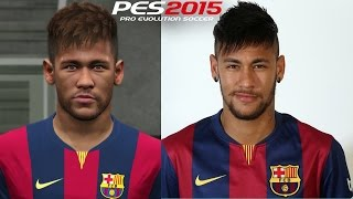 PES 2015 vs REAL FACES  - FC BARCELONA Face Comparison
