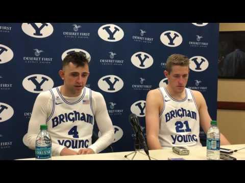 BYU Basketball - UVU Postgame - Nick Emery and Kyle Davis
