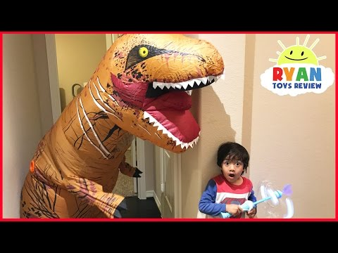 Thumbnail: Giant Life Size Dinosaur attacks Ryan Bad Magic Toys transformation Pretend Play Superhero Kid