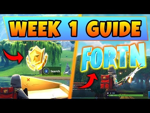 Fortnite WEEK 1 CHALLENGES GUIDE! - Treasure Map Location, FORTNITE LETTERS (Battle Royale Season 4)