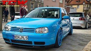 Blue VW Golf MK4 Bagged on 3SDM 0.03 Rims Tuning Project by Rick