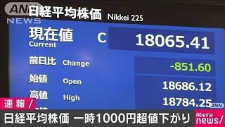 日経平均株価一時1000円超下落 終値1万8065円41銭(20/04/01)