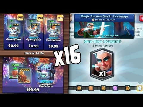 OPENING x16 NEW CHEST OFFERS! & NEW MAGIC ARCHER CHALLENGE! Clash Royale NEW LEGENDARY SOON!